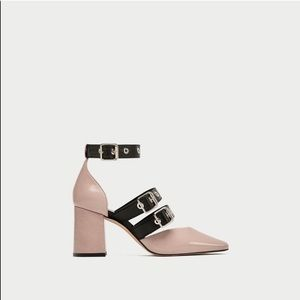 Zara Square Toe Leather Court Heels